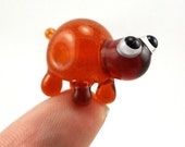 Little Amber Turtle Lampworked Glass Figurine Bead
