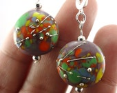Splatter Lampworked Glass Bead Earrings with Silver Accents