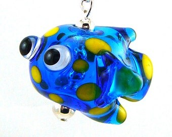 Spotted Blue Fish Hollow Lampworked Glass Bead Necklace