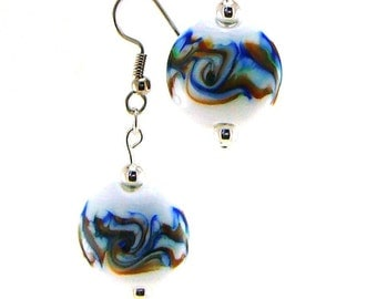 Rainbow Storm Lampworked Glass Bead Earrings