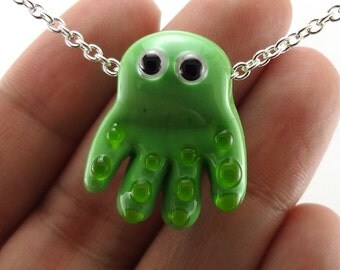 Green Octopus Lampworked Glass Bead Necklace