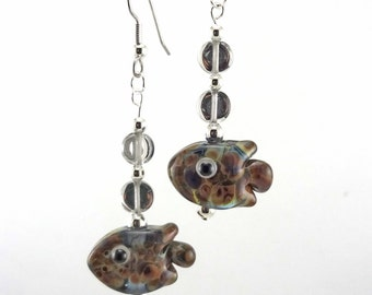 Raku Fish Lampworked Glass Bead Earrings