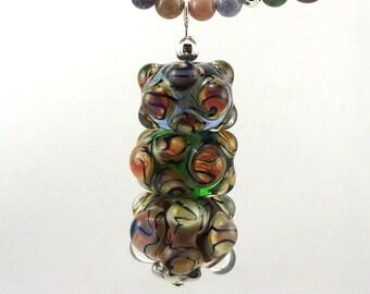 Raku Zebra Bubbles Lampworked Glass Bead Necklace
