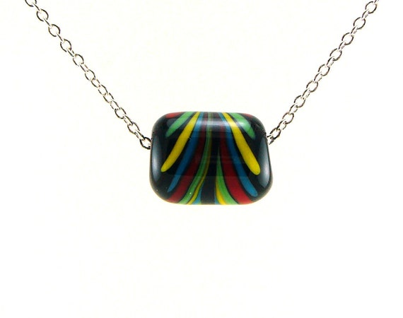 Red, Blue, Yellow, and Green on Black Lampworked Glass Bead Necklace