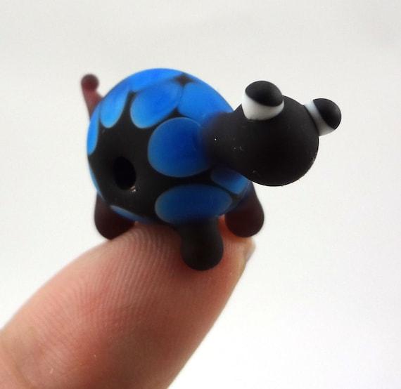 Purple and Blue Turtle Lampworked Glass Figurine Bead