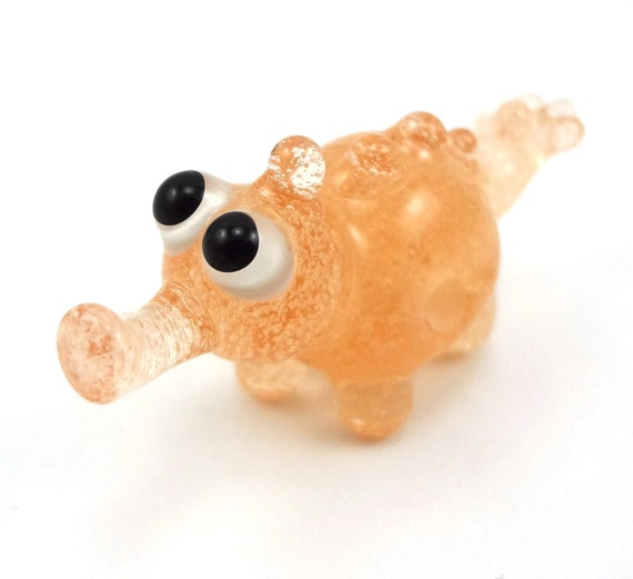 Pink Champagne Monster Lampworked Glass Figurine Bead