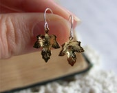 Gold Leaf Charm Earrings -- Small Gold-Plated Leaves -- Sterling Silver Hooks -- UK Shop