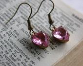 Vintage Heart Jewel Earrings -- Pink Faceted Glass Charms -- Brass Hooks -- Romantic Drop Earrings