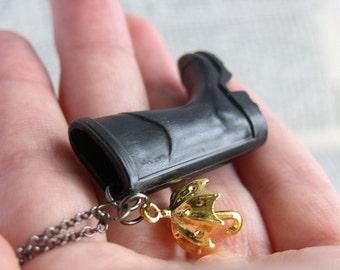 Black Wellington Boot and Umbrella Necklace - 'Glastonbury'