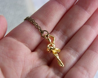Pretty Gold Ballerina Charm Necklace - 'Tiny Dancer'