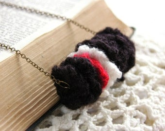 Black Knit Statement Necklace -- Red & White Striped Pendant -- Quirky Knitted Squares -- UK
