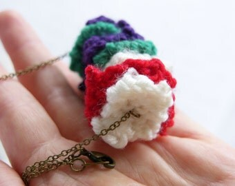 Colorful Knitted Necklace -- Purple, Green, White & Red Stripe Pendant -- Quirky Knit Statement Necklace