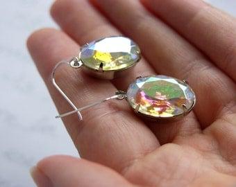Vintage Clear Glass Jewel Earrings - 'Starry Eyed'