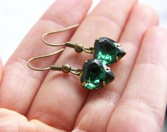 Vintage Green Glass Heart Jewel Earrings - 'Emerald Isles'