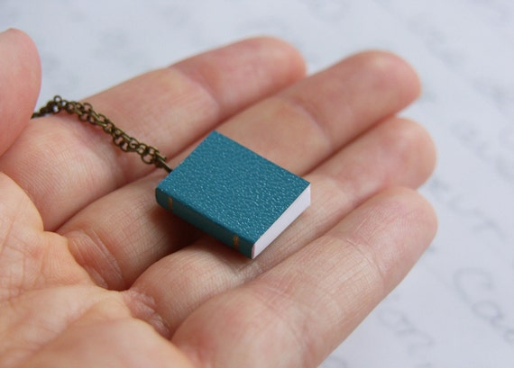 Mini Blue Paper Book Charm Necklace - 'Bibliophile'