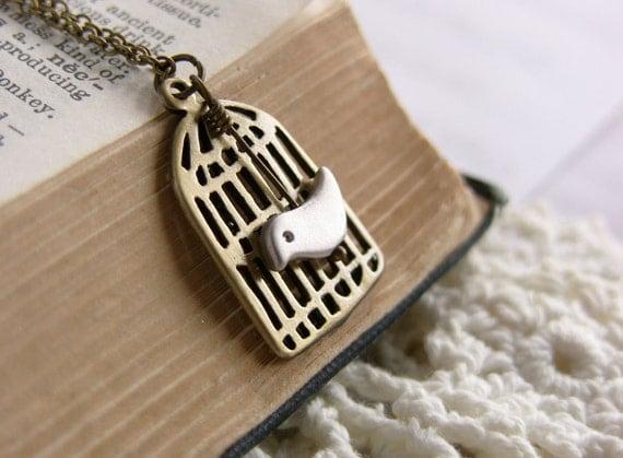 Brass Bird Cage Necklace - 'Tweety Pie'