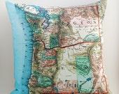 WASHINGTON OREGON, Vintage Map Pillow, Made to Order 18x18 Cover
