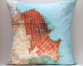 "Ready to Ship SAN FRANCISCO no.1, Vintage Map Pillow , Made to Order 18"" x18"" Cover, Linen Blend"