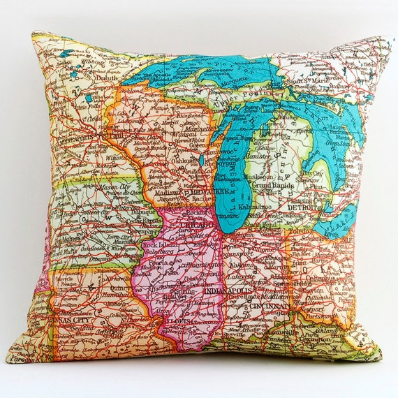 Vintage MIDWEST & MI Map Pillow, Made to Order 12 x 12 Cover, Linen Blend