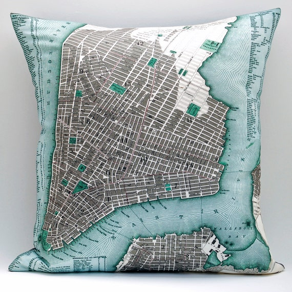 Vintage LOWER MANHATTAN Map Pillow, Made to Order 18x18 Cover