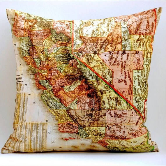 Vintage CALIFORNIA Made to Order Map Pillow, 18x18 Cover
