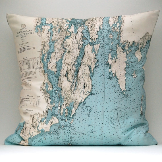 Ready to Ship MAINE Vintage Nautical Chart Pillow, 18x18 Cover