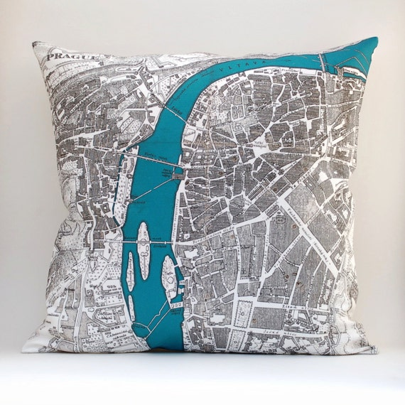 Ready to Ship PRAGUE Vintage Map Pillow, 18 x18 Cover