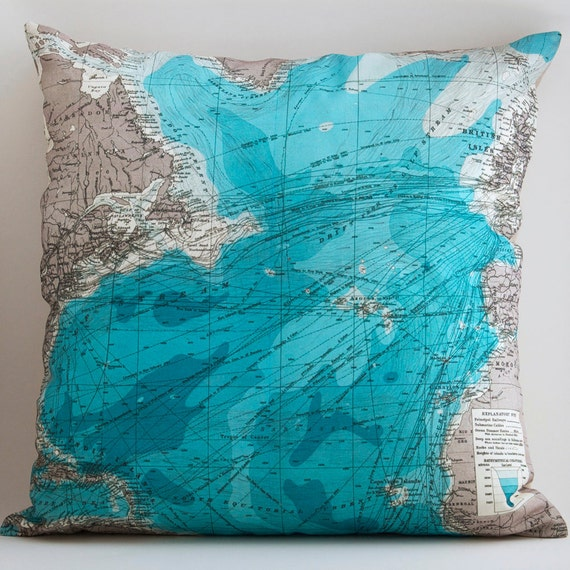 TRANSALANTIC Vintage Map Pillow, Made to Order 18 x 18 Cover