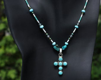 """40% off! 24"""" Turquoise Cross Necklace"""