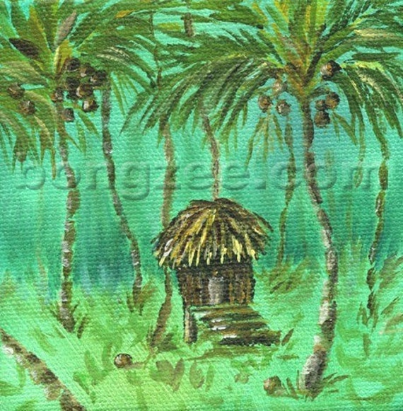 Lil' Tropic CocoHut 4 x 4 Mini Original Oil Painting Art Artwork Tropical Tiki Hut Palm Tree Coconut Hawaii Caribbean Tahiti Lisabongzee