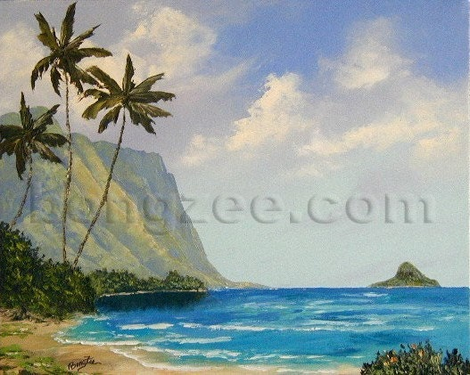 Super Sale Tropical Palm Tree Mountain Island Landscape 16 X