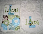 Luca Personalized Bib and Burp Set - Name and/or up to 3 Initials