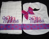 ON SALE Malena Personalized Bib and Burp Set - Name or up to 3 initials