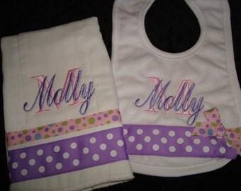 Molly Personalized Bib and Burp Set