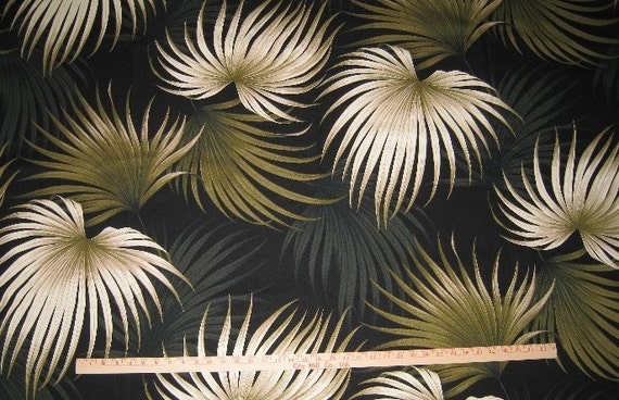 New Tropical Hawaiian Print Barkcloth Fabric Palm Frond Black
