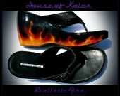 Size-7 Custom Airbrushed Realistic Fire platform wedge sandals heels shoes