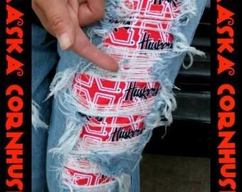 New Custom Nebraska Cornhuskers Swarovski jeans