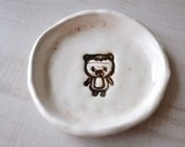 treaury item...little bear glazed pottery dish