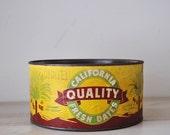 vintage california quality fresh dates tin can--industrial, primitive, cottage farmhouse