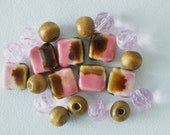 yummy pink and chocolate brown glass beads/wooden beads