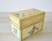 charming vintage yellow, blue and green flower recipe metal file box