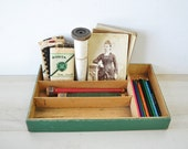 green wooden flatware vintage caddy --- divided tray