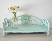 adorable shabby chic turquoise-seafoam green wicker shelf