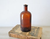 fabulous vintage amber colored bottle--recycle, reuse--antique apothecary glass bottle