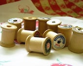 Vintage Lot of 10 Wooden Thread Spools---Creative Imagination