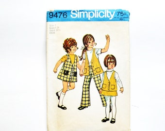 vintage 1970s simplicity pattern 9476--girls jumper, vest, skirt, pants--size 5