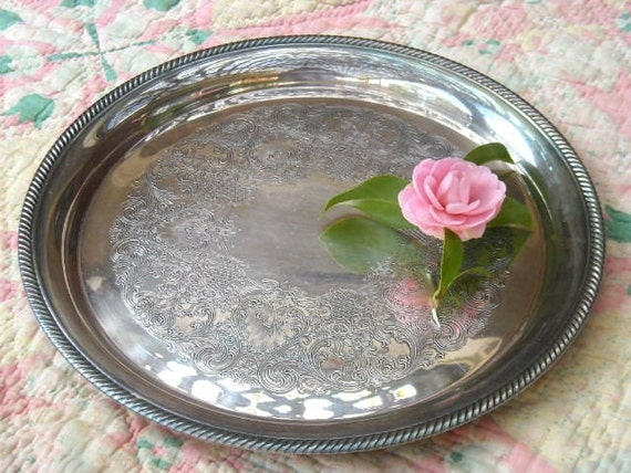 Vintage International Silver Company Etched Round Platter Tray