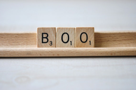 Vintage Wooden Scrabble Tiles with holder--BOO