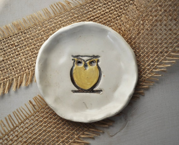 handsculpted owl clay dish