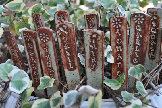 6 reserved for Lisa...handsculpted clay garden stake herb, veggie, flower or fruit markers